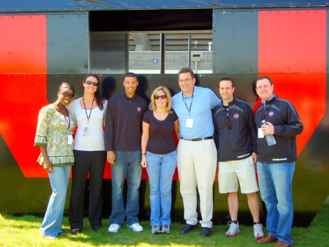 At the ESPNU Warrior Classic men's college lacrosse event in Hartford, Conn. circa 2011 (L-R) ESPNU's Rosalyn Durant, Meghan O'Leary, Kevin Lopes, Lauren Albee, Dan Margulis, AJ Mazza and consultant Darren Lachtman.