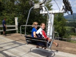 Meghan Musnicki and Taylor Goetzinger taking the lift back down the mountain, Lake Placid.