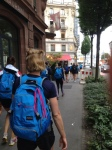 Sea of Blue. Headed to the race course in Lucerne.