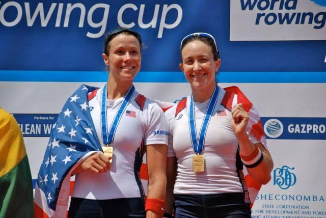 (L-R) Meghan O'Leary, Ellen Tomek; 2013 Samsung World Rowing Cup III Women's Double Bronze Medalists