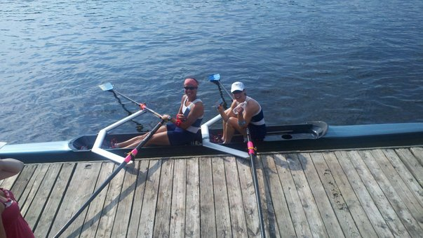 "First big ""win"" in the women's intermediate 2x at the 2011 Independence Day Regatta. (L-R: Meghan O'Leary, Pam Besteman)"