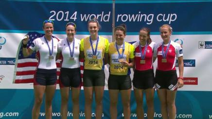 2014 World Cup 2 Women's Double Sculls medalists (L-R: USA, Australia, Poland).