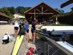 Rigging the boats at Aviron du Lac Bleu in Paladru, France.