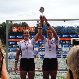 Winners of the Women's Double Sculls at the 2014 Holland Beker Regatta. (Photo credit: Jeremy Ivey)
