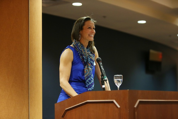 Giving my speech at the 2015 National Girls and Women in Sports Day celebration at the University of Virginia.