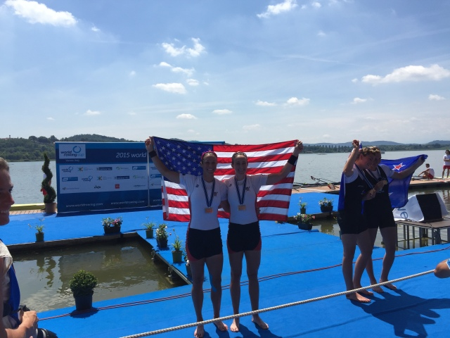 On the medals dock after the Final. Photo credit: Jeremy Ivey