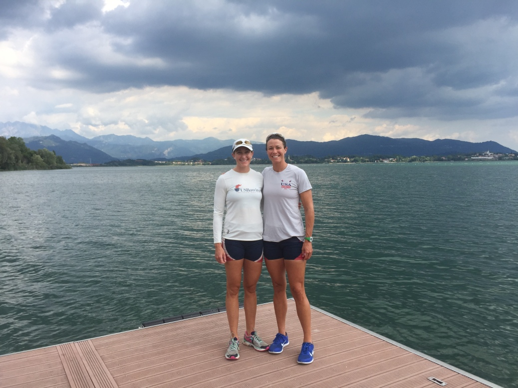 Ellen and I on the dock at Lago di Pusiano. Erba, Italy.
