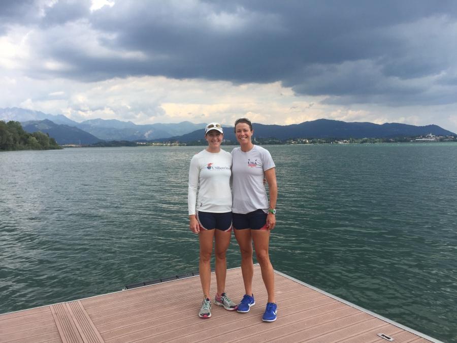 Ellen and I on the dock at Lago di Pusiano. Erba, Italy.